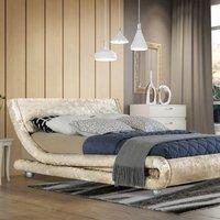 Modern Curved Cream Crushed Velvet Bed Frame - Double
