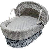 Dimple Grey Wicker Moses Basket with Little Gem Rocking Stand - Grey