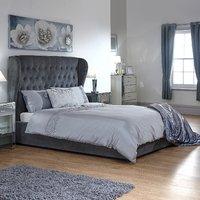 Dakota Storage Ottoman Bed Frame - Pewter / Double