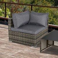 Rattan Corner Sofa Garden Rattan Furniture - Dark Grey