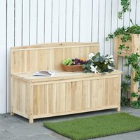 Wood Storage Bench for Patio Furniture - Natural