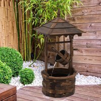 Rustic Wooden Barrel Well Garden Fountain - Carbonised Wood Colour