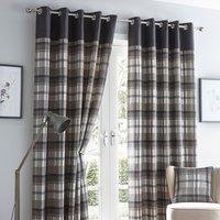 Orleans Charcoal Eyelet Curtains - Grey / 117cm / 137cm
