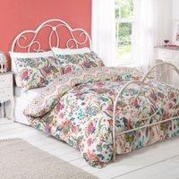 Megan Floral Printed Duvet Cover and Pillowcase Set - Natural / Single