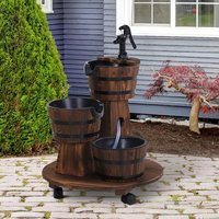 Wooden 3 Barrel Electric Fountain - Carbonized Wood