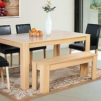 Modern Wooden Oak Dining Table and 4 Black Chairs and Bench - Table, 4 Chairs, Bench