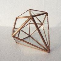 Diamond Glass Terrarium Planter Decor Box - Copper / 12.5cm
