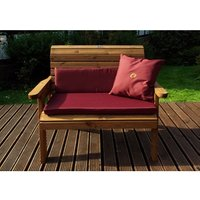 Charles Taylor Two Seater Bench Gold With Cushions - Burgundy/Redwood