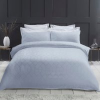 Imani Geometric 290 Thread Count Duvet Cover and Pillowcase Set - Sky / Super King