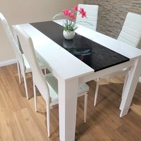 Modern White and Black Wood Dining Table with White Faux Leather Chairs - 4