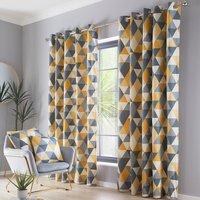 Dakota Mustard Eyelet Curtains - Yellow / 117cm / 137cm
