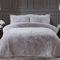 Shaggy Faux Fur Duvet Cover and Pillowcase Set - Silver / Double