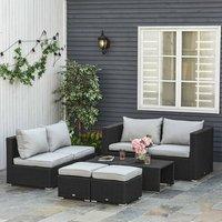 8 Piece PE Rattan Sofa Set - Black