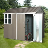 8x6ft Corrugated Metal Garden Shed - Grey and White