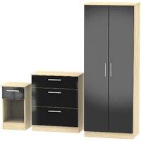 Carlton Three Piece Bedroom Set  - Black