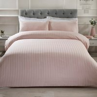 Luxury Satin Stripe Duvet Cover and Pillowcase Set - Blush / King