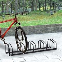 Bike Parking Rack Locking Storage Stand - Black / 5 Racks