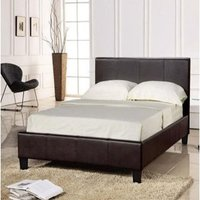 Chocolate Faux Leather Bed Frame - Double