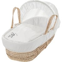 White Sleepy Sheep Moses Basket with Natural Little Gem Rocking Stand