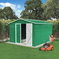 BIRCHTREE Metal Garden Shed With Free Foundation - Green / 10ft X 8ft