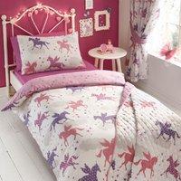 Divine Unicorns Printed Duvet Cover and Pillowcase Set - White / Single