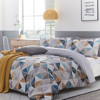 Triangular Geometric Duvet Cover Set - Multi / King