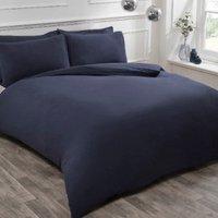 Flannelette Duvet Cover and Pillowcase Set - Navy / Double