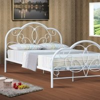 French White Metal Bed Frame - White / Small Double