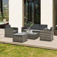 5 Piece Outdoor Seating Storage Rattan Imitation - Grey rattan, Deep grey cushion
