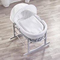 White Waffle Grey Wicker Moses Basket with Grey Rocking Stand