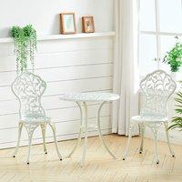 3 Piece Garden Bistro Set Cast Aluminum Dinning Chair Table Outdoor - White