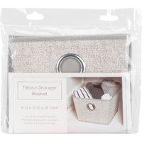 Grey Fabric Storage Tote Basket - 19cm