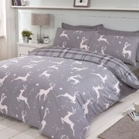 Leaping Stags Duvet Cover and Pillowcase Set - Grey / Double