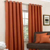 Basketweave Eyelet Curtains  - Orange / 168cm / 183cm