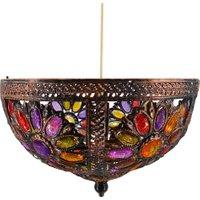 Multicolour Jewelled Uplighter - Bronze