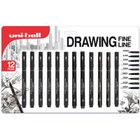 Pack of 12 Uniball Drawing Fine Line Pens - Black