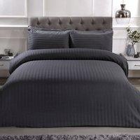 Luxury Satin Stripe Duvet Cover and Pillowcase Set - Charcoal / King