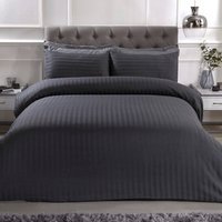 Luxury Satin Stripe Duvet Cover and Pillowcase Set - Charcoal / Double