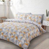 Soho Geometric Duvet Cover and Pillowcase Set - Ochre / King