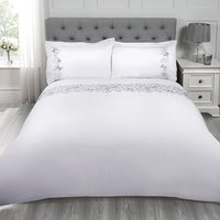 Mariella Butterfly Duvet Cover and Pillowcase Set - White / Double