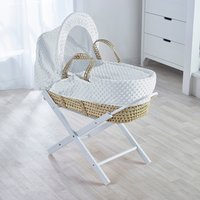 White Dimple Moses Basket with White Opal Folding Stand