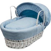 Blue Waffle White Wicker Moses Basket - Blue