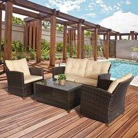 4 Piece Outdoor Furniture Wicker Chair Set - Brown