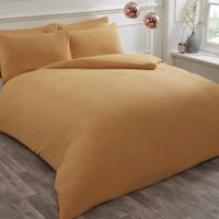 Flannelette Duvet Cover and Pillowcase Set - Ochre / Double