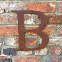 Classic 12 Inch Rusty Metal Letter B - Rusted