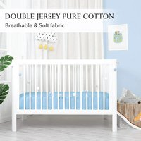 'Double Jersey  2 X Baby Fitted Cot Crib Bed Sheet Sky Blue - Sky Blue / Small Single