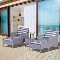 5 Piece PE Rattan Furniture Set - Grey