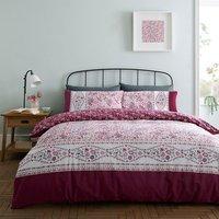 Lila Cranberry Duvet Cover and Pillowcase Set - Cranberry / Double