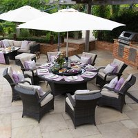 Olivia 8 Seater Rattan Round Dining Set - Brown