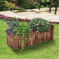 Raised Flower Bed Wooden Planter - Natural wood colour / 120cm